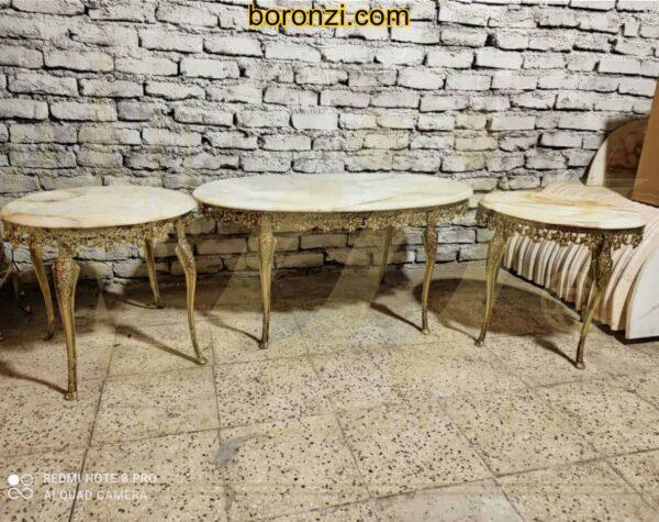 ست میز عسلی و جلو مبلی برنزی چهار پایه