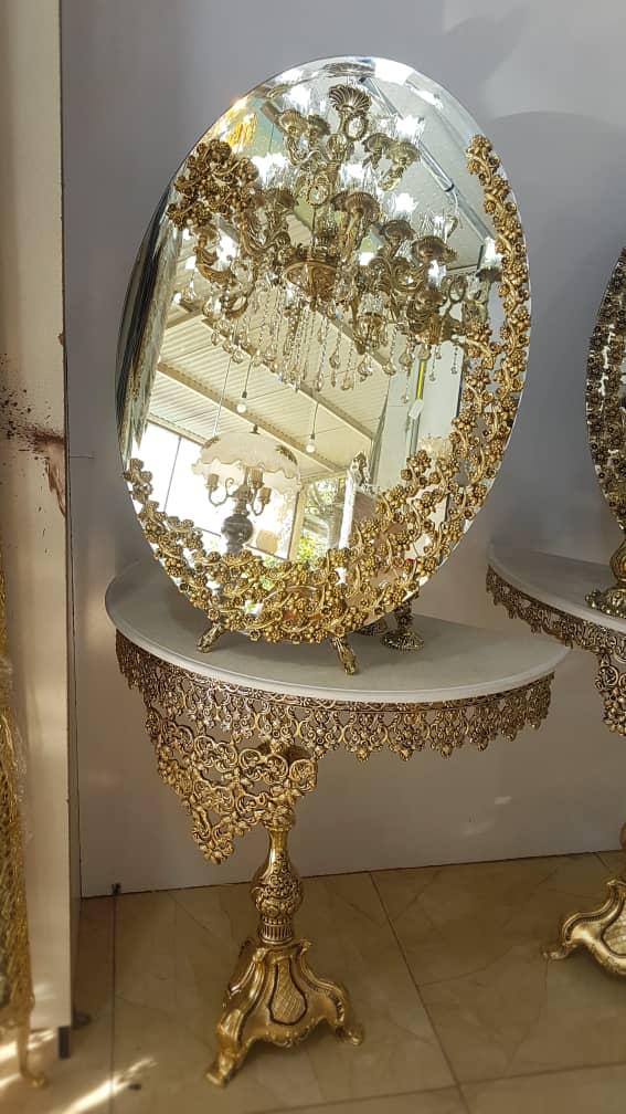 آینه کنسول آلیاژ 50*70 طلایی سه ردیفه